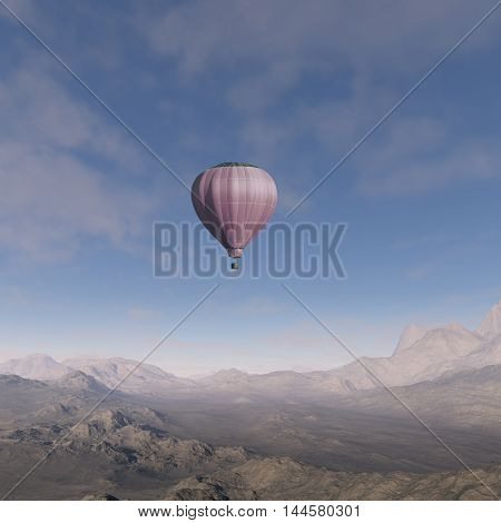 3d generated: Hot Air Balloon flying over a desert