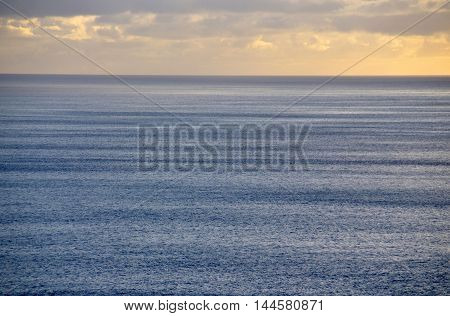 Open ocean with an evening horizon during evening sunset in Cabo Verde