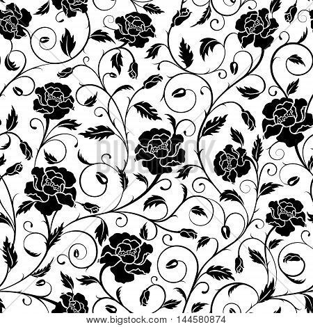Seamless pattern of ornate poppies buds and leaves in black and white