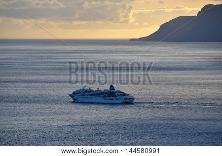 Cruise Sails Away From The Island Of Brava
