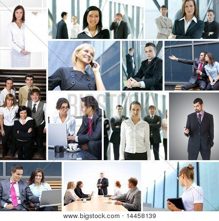 Collage de negocio de muchos cuadros de negocios