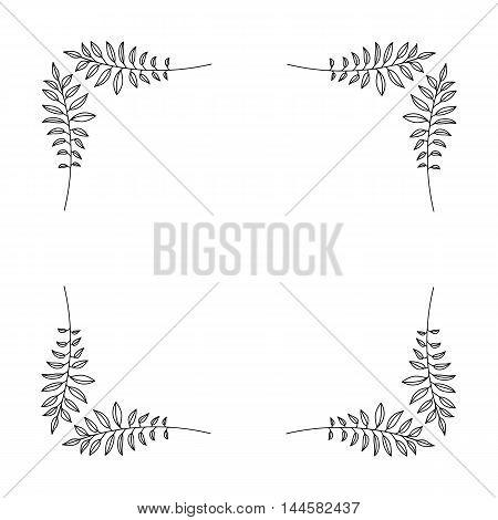 Elegant ornate floral design templates. Lineart vector frame and monograms illustration.