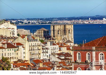 Belevedere Miradoura de Sao Pedro de Alcantara Outlook Cathedral Houses Harbor Lisbon Portugal