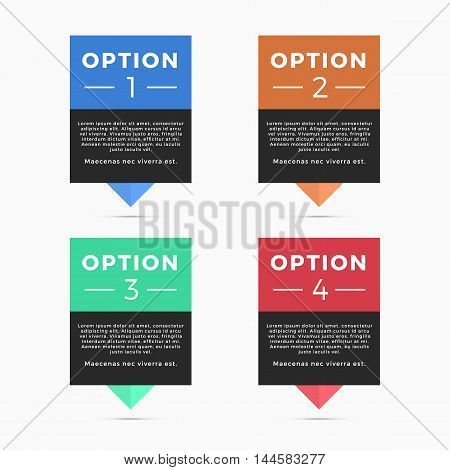 Pointers labels vector graphics, four color options, location or position symbol, sale price tag