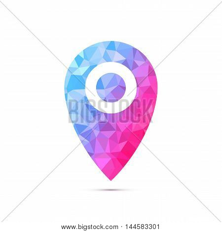 Pointers labels vector graphics, location or position symbol, gps navigation, polygon triangle fill