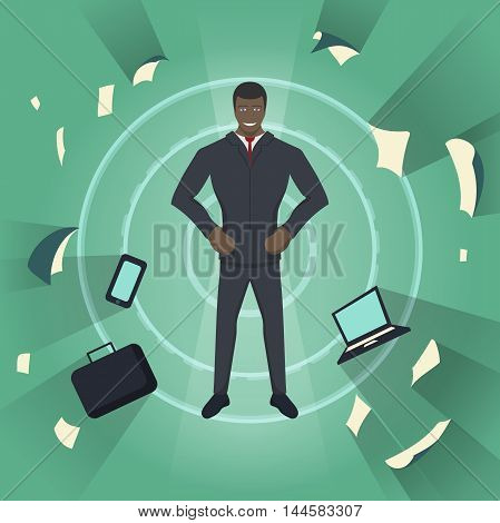Business theme illustration. Young black businessman feels power inside. This businessman character really ready for the great achievements. abstract background.