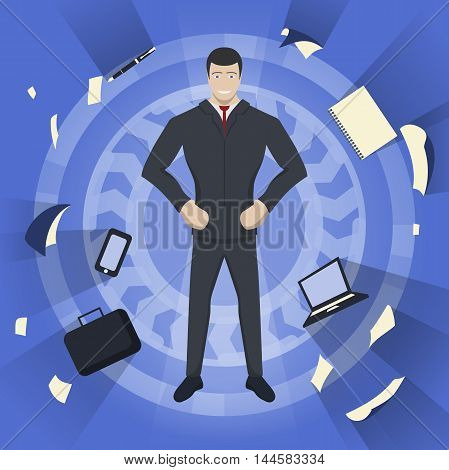 Business theme illustration. Young businessman feels power inside. This businessman character really ready for the great achievements. Infographic background.