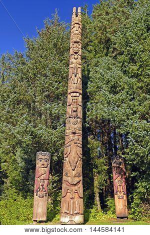 Totem Poles at a Coastal Preserve in Sitka National Historic Park in Alaska