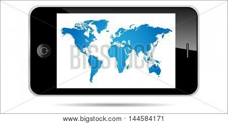 World map smartphone illustration isolated on a white background