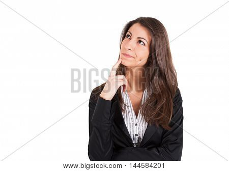 Pensive businesswoman portrait. Isolated on white