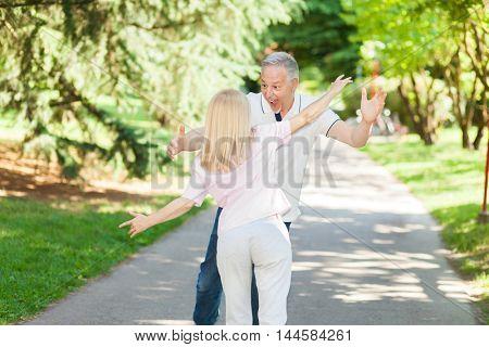 Portrait of an happy mature couple having fun