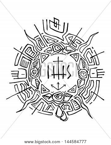 Hand drawn vector illustration or drawing of an abstract sun with religious christian symbols