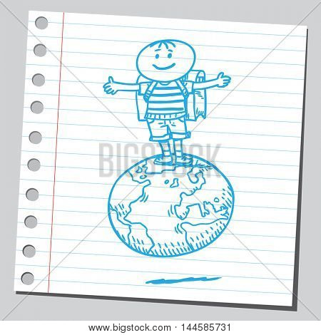 Schoolkid standing on planet