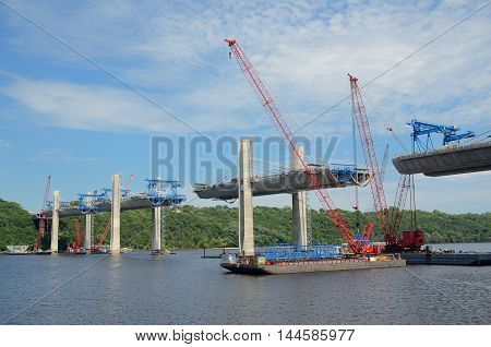 Oak Park Heights MN USA - AUGUST 4 2016: Construction of the St. Croix Crossing Extradosed Bridge Over the St. Croix River Connecting Wisconsin and Minnesota