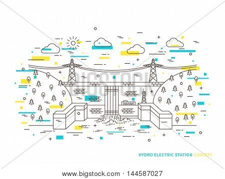 Linear Hydro Electric Station Hydroelectric Power Plant Vector Illustration