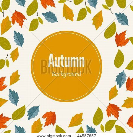 Autumn leaves fall on border vector illustration. Background with hand drawn autumn leaves. Design elements. Autumn leaves concept. Different autumn leaves. Abstract leaves. Frame with leaves. Autumn.