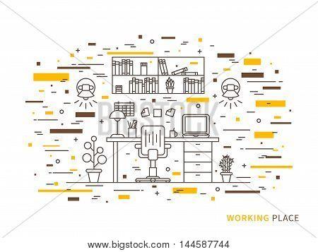 Linear Flat Interior Design Illustration Of Modern Designer Working Place