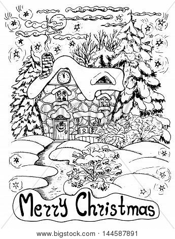 Black and white Christmas card with a house and conifers in snow, hand drawn illustration