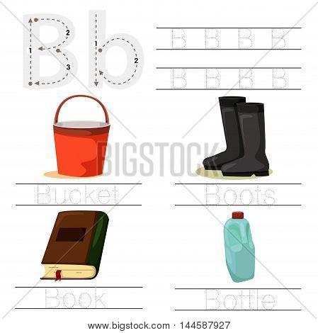 Illustrator of Worksheet for children b font