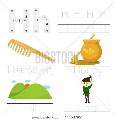 Illustrator of Worksheet for children h font