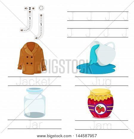 Illustrator of Worksheet for children j font