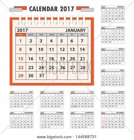 Business calendar for desk on 2017 year. Set of the 12 month isolated pages. Week starts on Sunday. eps 10
