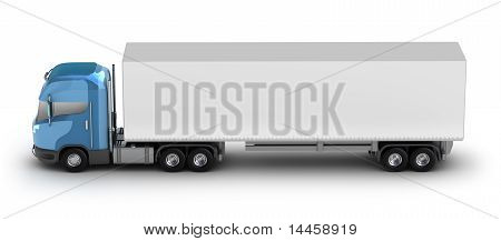 Blue truck with trailer my own design isolated on white