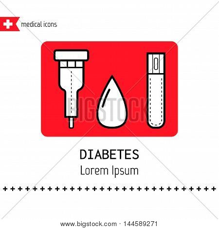 Test strips and drop. Determination of the level of blood sugar. Flat icons. Diabetes