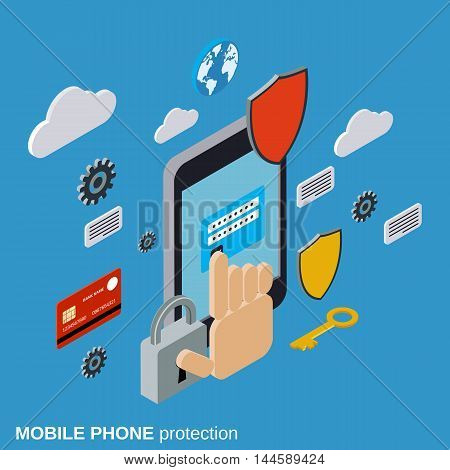 Mobile phone protection, computer security flat isometric vector concept