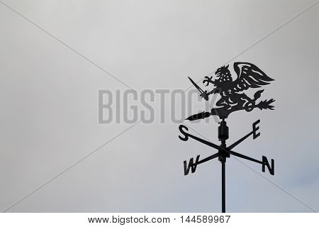 Black dragon wind vane against the sky. Weather vane reflecting compass points