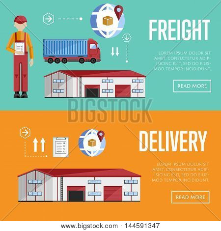Freight and delivery banner set of logistics process services isolated vector illustration. Warehouse exterior.