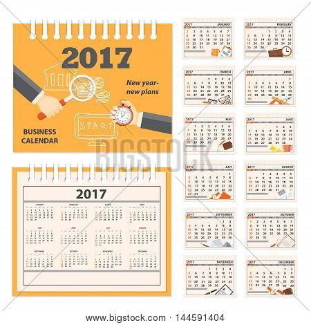Business calendar for desk on 2017 year. Set of the 12 month isolated pages with business icons and full calendar with image on the cover. Week starts on Sunday. eps 10