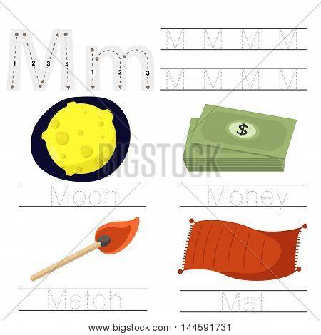 Illustrator of Worksheet for children M font