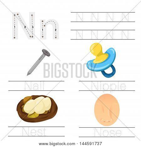 Illustrator of Worksheet for children N font