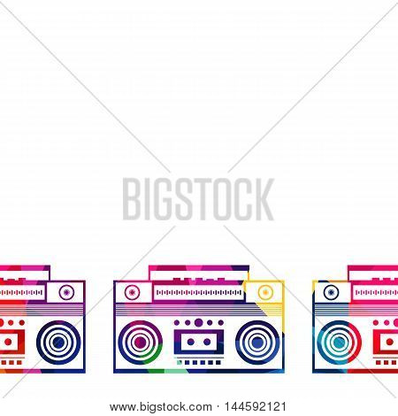 Abstract radio boombox polygon low-poly colorful geometric background vector illustration