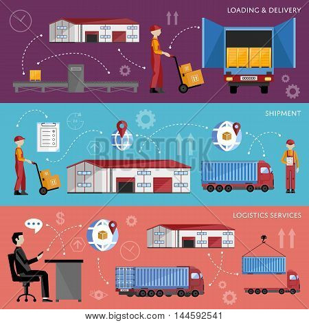 Process of shipping and distribution of goods. Logistic service process infographics.