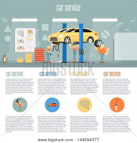 Infographics of scene presents workers in car service tire service and car repair vector illustration. Car repair service. Car service station. Service man. Car service background concept.