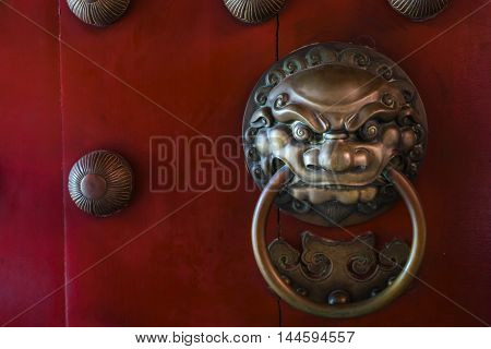 close up of a brass door handle
