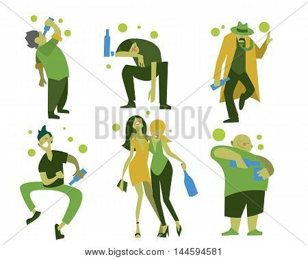 Drunk people, men and women in different situations isolated on white background vector illustration. Alcoholism concept. Drunk men. Alcoholic people. Drunkard. Cartoon drunk people.