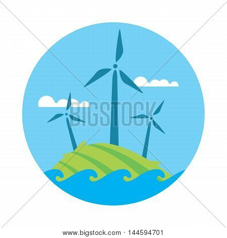 Wind power, round vector illustration. Wind turbines in green field on background of blue sky. Ecological types of electricity. Natural landscape. Eco generation. Renewable resources concept.