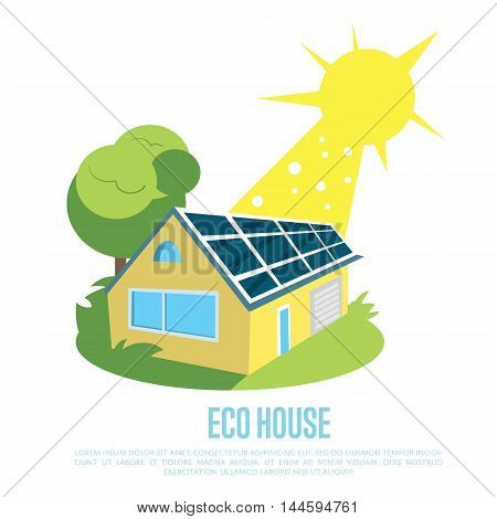 Eco house with blue solar panels on the roof under bright sun. Renewable energy vector illustration. Production of energy from the sun. Modern alternative energy generation. Green home concept.