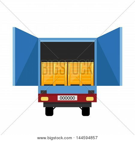 Container truck isolated icon on white background flat vector design