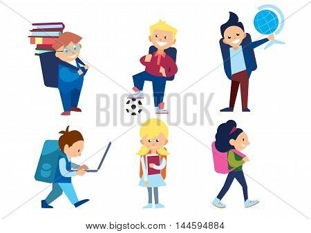 Little schoolchildren set. Schoolboys and schoolgirls with schoolbags and other different school supplies. Pupil with a globe, ball, laptop. Smiling school character in flat. Different pupils. Children isolated. Kids isolated. Schoolboy vector.