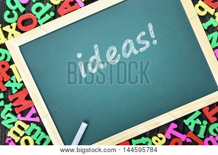 Ideas text on school board and magnetic letters