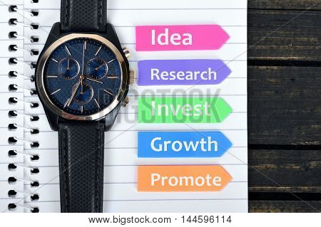 Business Plan text on sticky colorful arrows