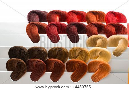 set of locks of hair in different colors