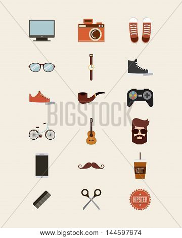 hipster style set collection isolated icons vector illustration design