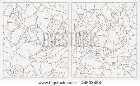 Set contour illustrations of stained glass with aquarium fish. Vector.
