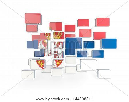 Flag Of Serbia, Mosaic Background