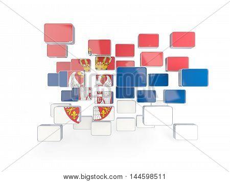 Flag Of Serbia, Mosaic Background